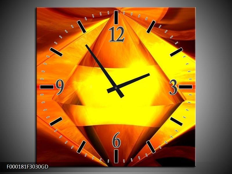 Wandklok op Glas Abstract | Kleur: Geel, Oranje, Bruin | F000181CGD