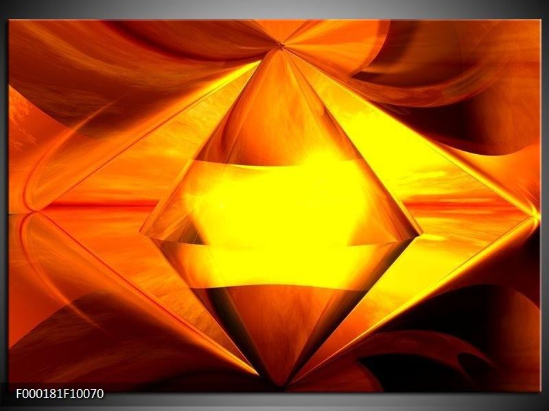 Glas schilderij Abstract | Geel, Oranje, Bruin