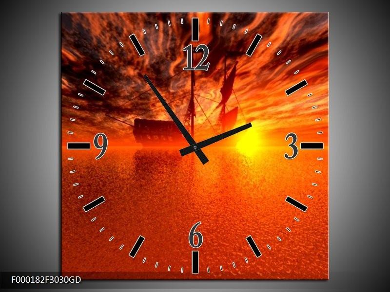Wandklok op Glas Boot   Kleur: Rood, Oranje, Geel   F000182CGD