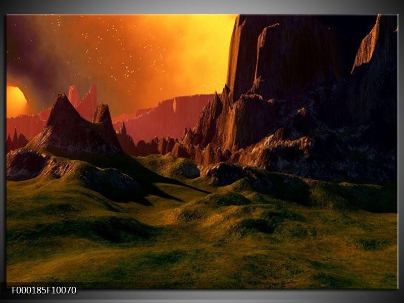 Glas schilderij natuur groen bruin oranje for Schilderij natuur