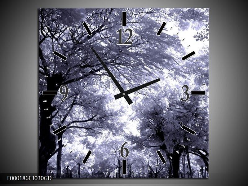 Wandklok op Glas Bomen | Kleur: Grijs, Wit, Zwart | F000186CGD