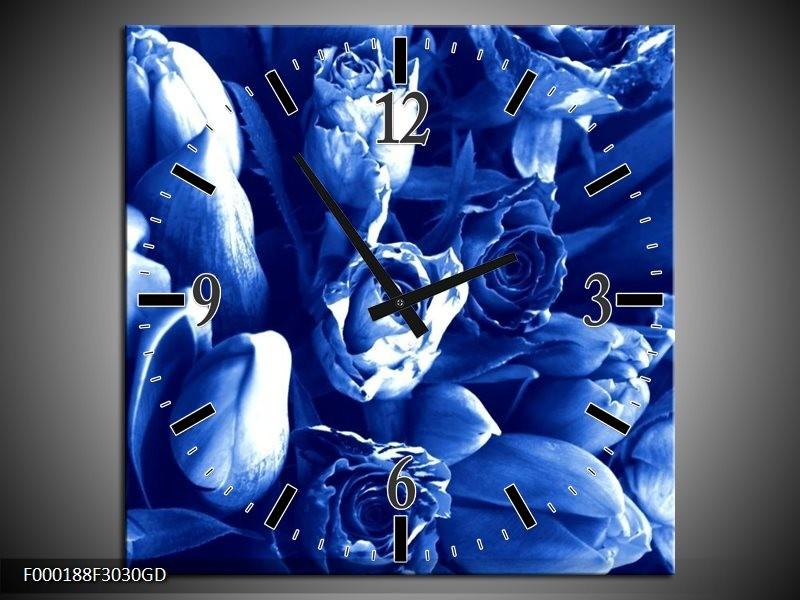 Wandklok op Glas Bloemen | Kleur: Blauw, Wit | F000188CGD