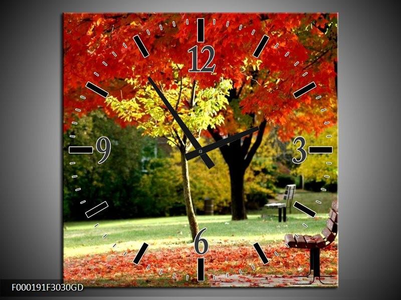 Wandklok op Glas Park | Kleur: Rood, Geel, Groen | F000191CGD