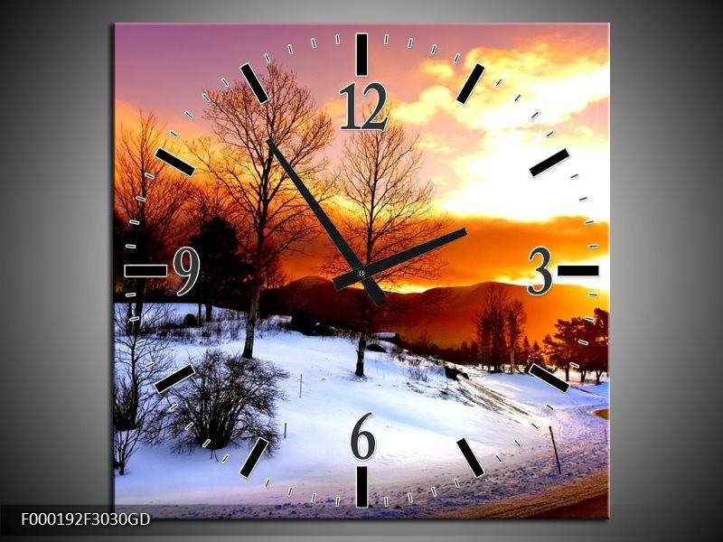 Wandklok op Glas Winter   Kleur: Wit, Oranje, Bruin   F000192CGD