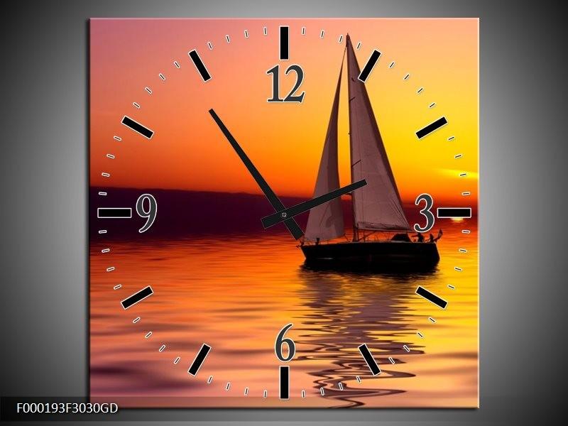 Wandklok op Glas Boot | Kleur: Rood, Geel, Zwart | F000193CGD