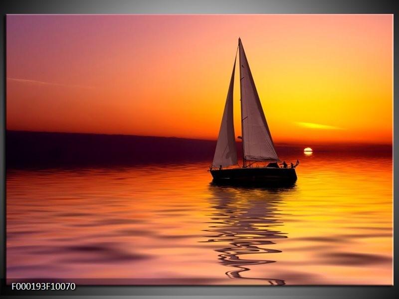 Glas schilderij Boot | Rood, Geel, Zwart