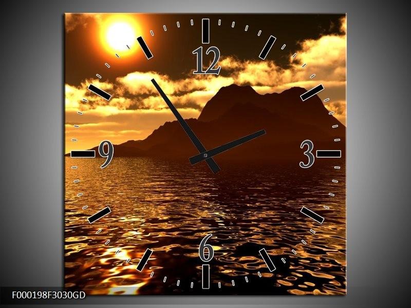 Wandklok op Glas Zonsondergang | Kleur: Goud, Bruin, Geel | F000198CGD