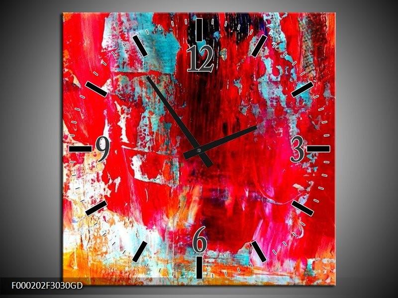 Wandklok op Glas Abstract   Kleur: Rood, Wit, Geel   F000202CGD