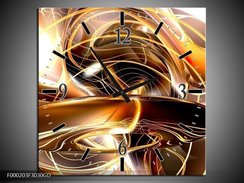 Wandklok op Glas Abstract   Kleur: Goud, Geel, Bruin   F000203CGD