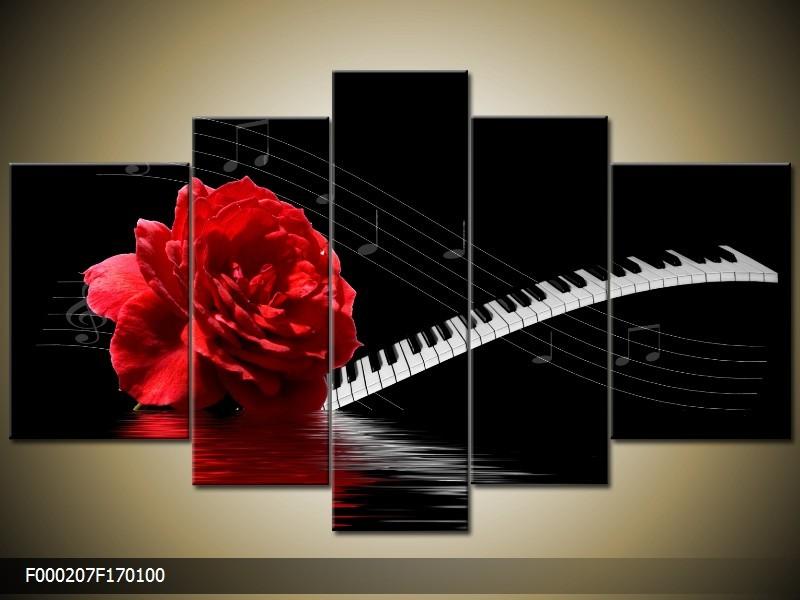 OP VOORRAAD Foto canvas schilderij Roos | Kleur: Rood, Wit, Zwart | F000207