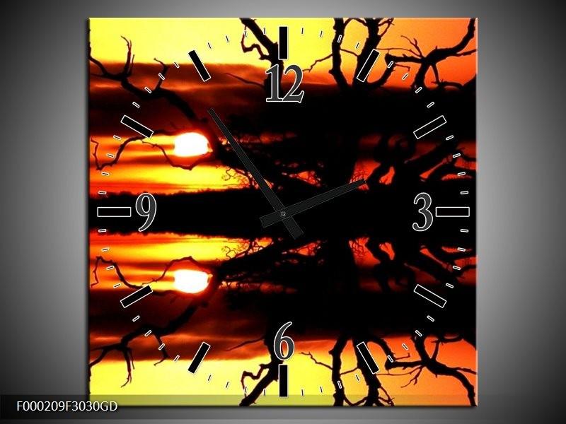 Wandklok op Glas Zonsondergang | Kleur: Oranje, Zwart, Geel | F000209CGD