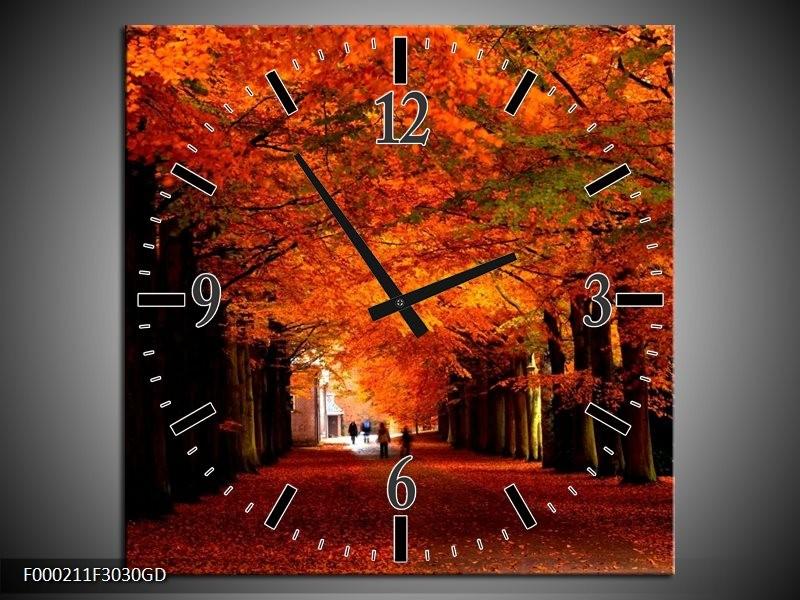 Wandklok op Glas Park | Kleur: Rood, Bruin, Zwart | F000211CGD