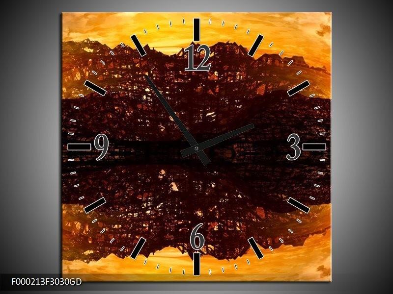 Wandklok op Glas Abstract | Kleur: Bruin, Oranje, Zwart | F000213CGD