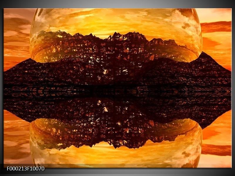Glas schilderij Abstract | Bruin, Oranje, Zwart
