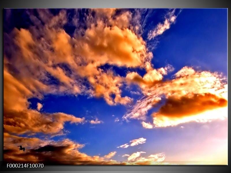 Glas schilderij Lucht | Blauw, Bruin