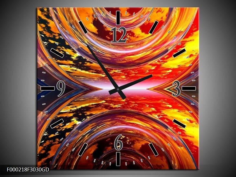 Wandklok op Glas Abstract | Kleur: Rood, Geel, Grijs | F000218CGD