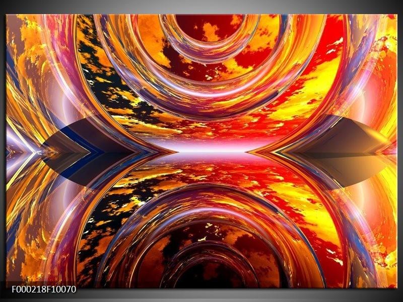 Glas schilderij Abstract   Rood, Geel, Grijs