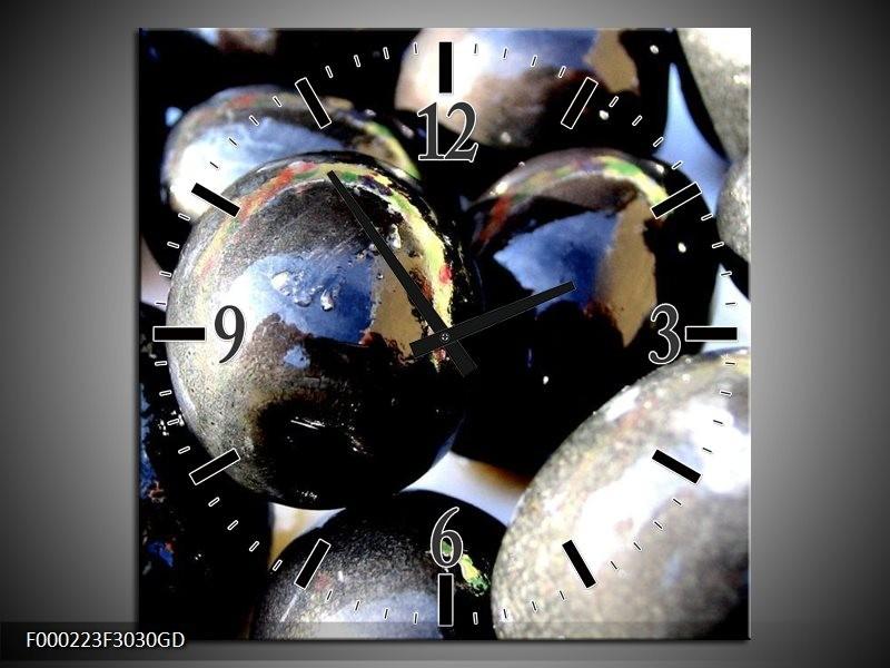 Wandklok op Glas Ballen | Kleur: Grijs, Zilver, Wit | F000223CGD