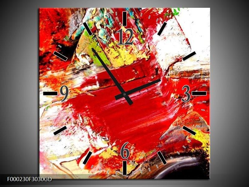 Wandklok op Glas Abstract | Kleur: Rood, Wit, Zwart | F000230CGD