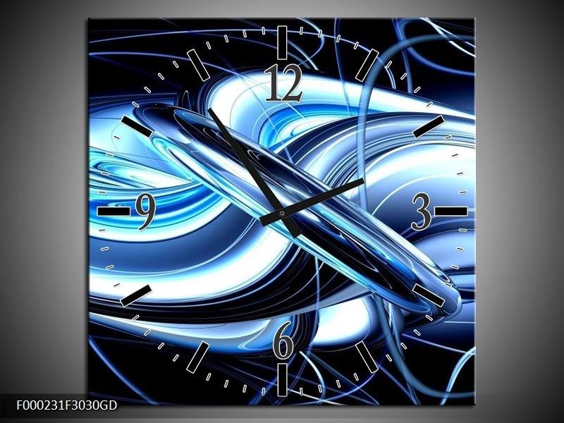 Wandklok op Glas Abstract | Kleur: Blauw, Wit, Zwart | F000231CGD