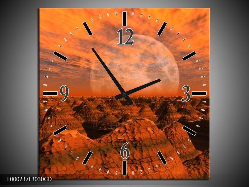 Wandklok op Glas Bergen | Kleur: Bruin, Oranje, Grijs | F000237CGD