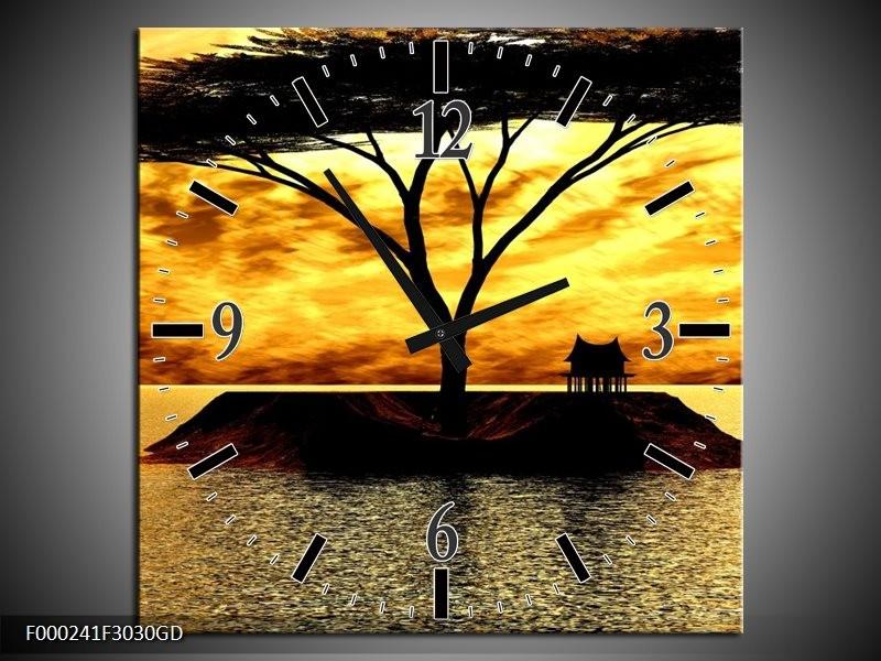 Wandklok op Glas Eiland | Kleur: Geel, Zwart, Bruin | F000241CGD