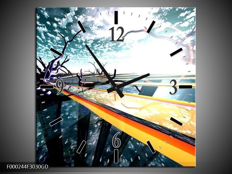 Wandklok op Glas Abstract | Kleur: Geel, Blauw, Zwart | F000244CGD