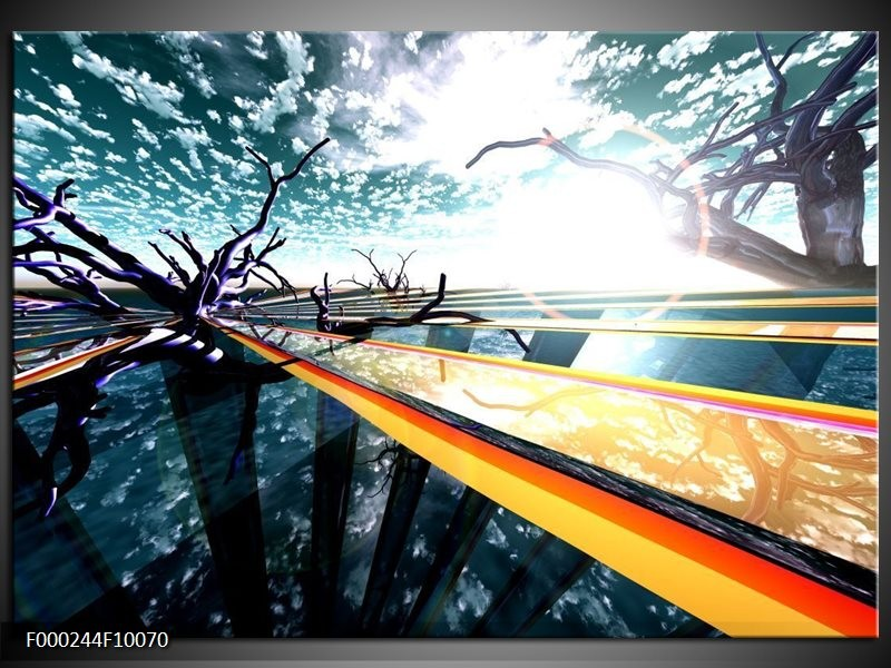 Glas schilderij Abstract | Geel, Blauw, Zwart