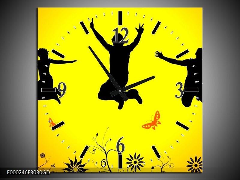Wandklok op Glas Dansen | Kleur: Geel, Zwart, Oranje | F000246CGD