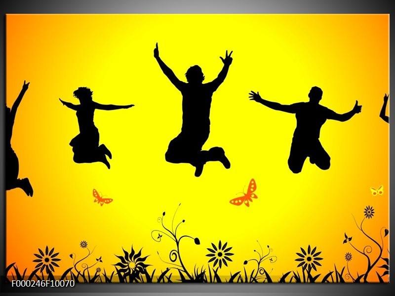 Glas schilderij Dansen | Geel, Zwart, Oranje