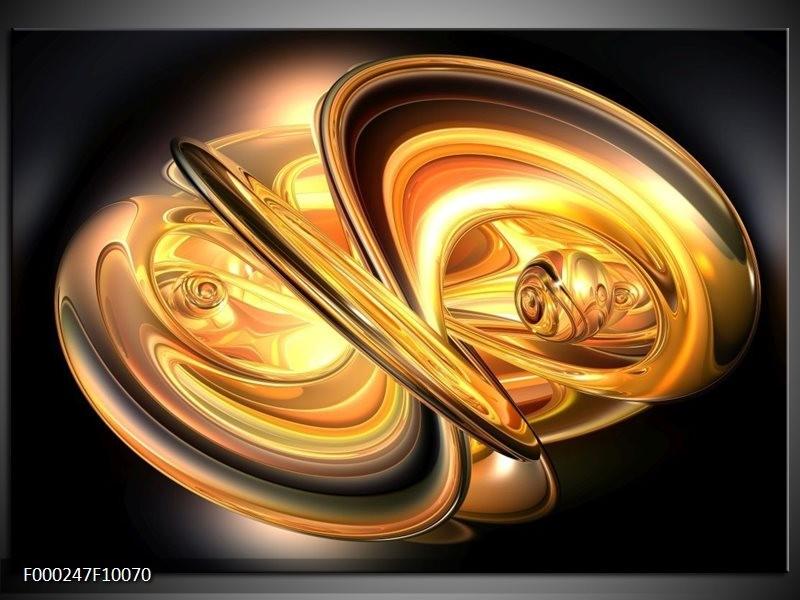Glas schilderij Abstract | Goud, Geel, Zwart