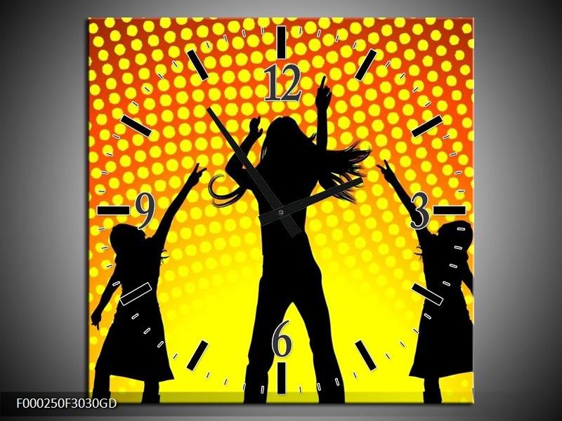 Wandklok op Glas Dansen | Kleur: Zwart, Geel, Oranje | F000250CGD
