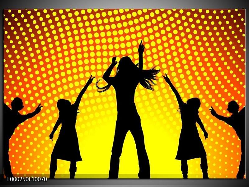 Glas schilderij Dansen   Zwart, Geel, Oranje