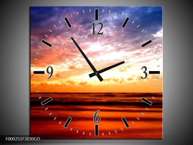 Wandklok op Glas Zonsondergang | Kleur: Rood, Blauw, Geel | F000251CGD