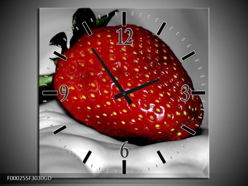 Wandklok op Glas aardbei | Kleur: Rood, Grijs, Groen | F000255CGD
