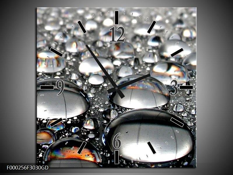 Wandklok op Glas Druppel | Kleur: Grijs, Wit, Zwart | F000256CGD