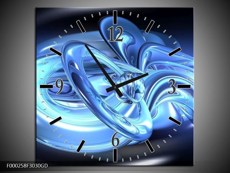 Wandklok op Glas Abstract | Kleur: Blauw, Wit, Zwart | F000258CGD