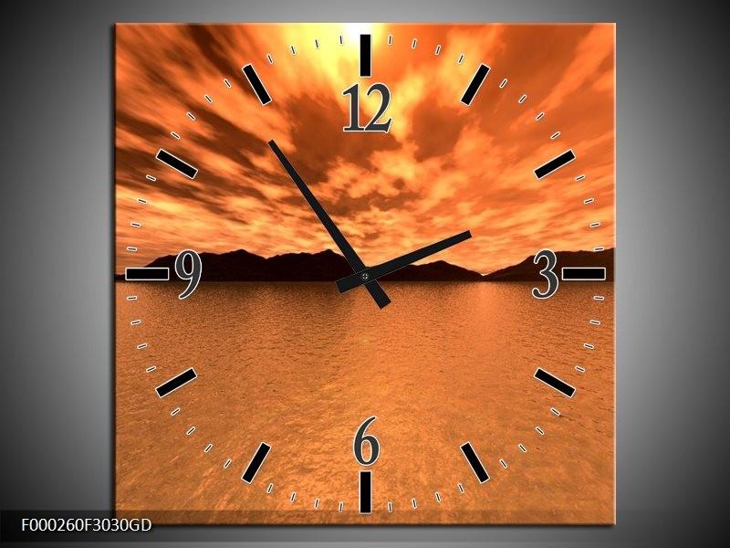 Wandklok op Glas Zonsondergang | Kleur: Bruin, Oranje, Geel | F000260CGD
