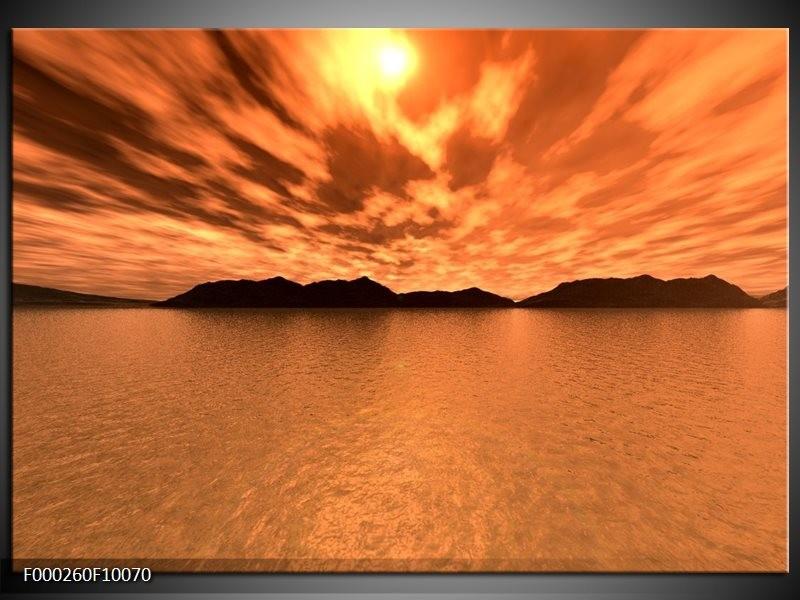 Glas schilderij Zonsondergang | Bruin, Oranje, Geel