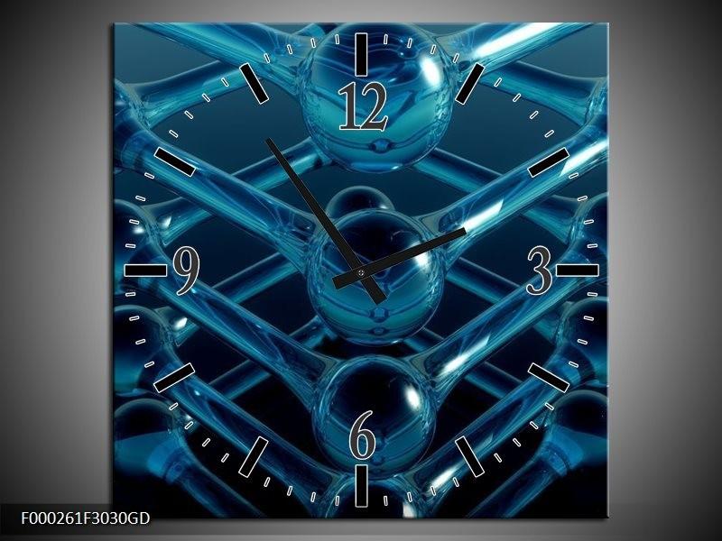 Wandklok op Glas Abstract | Kleur: Blauw, Zwart, Wit | F000261CGD