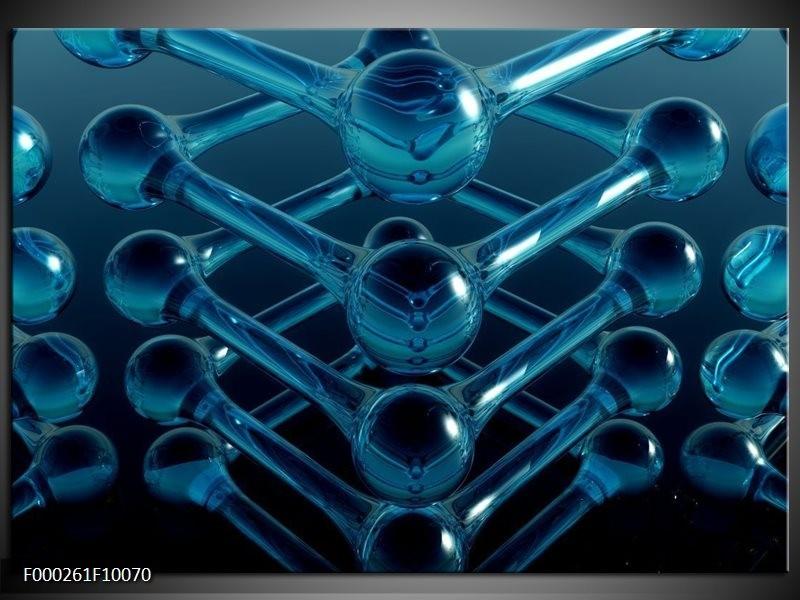 Glas schilderij Abstract | Blauw, Zwart, Wit