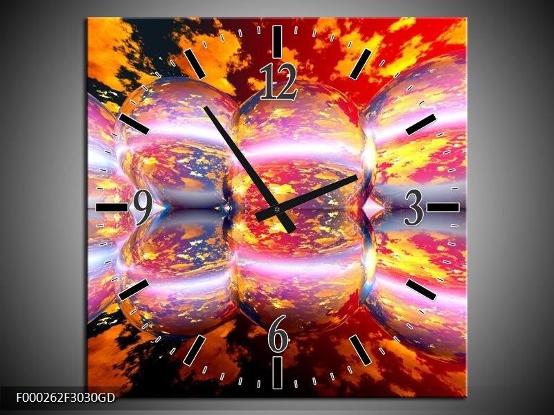 Wandklok op Glas Abstract | Kleur: Geel, Wit, Rood | F000262CGD