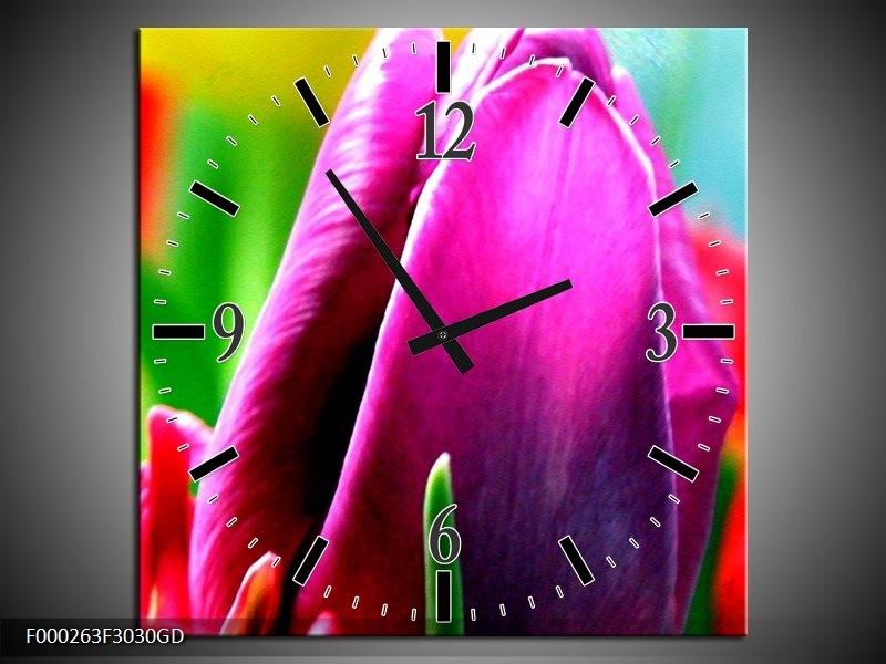 Wandklok op Glas Tulp | Kleur: Paars, Groen, Rood | F000263CGD
