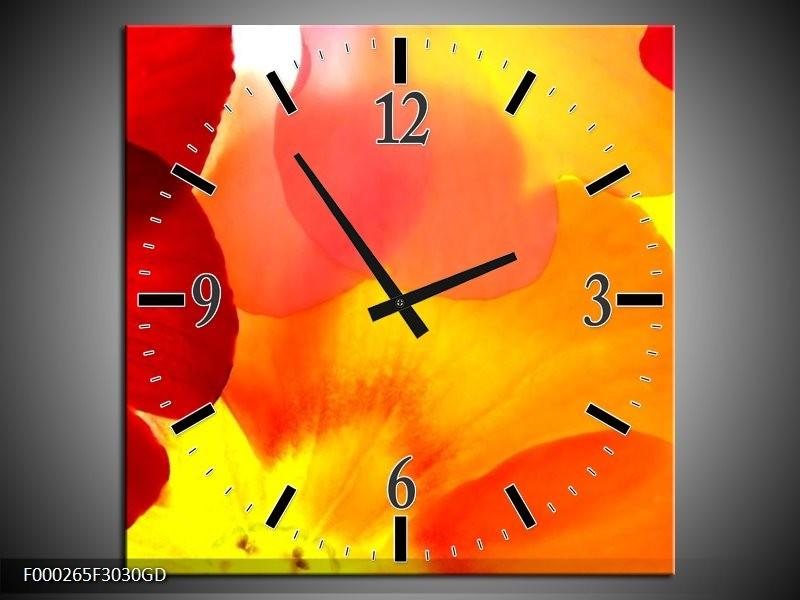 Wandklok op Glas Bloem | Kleur: Rood, Geel, Oranje | F000265CGD