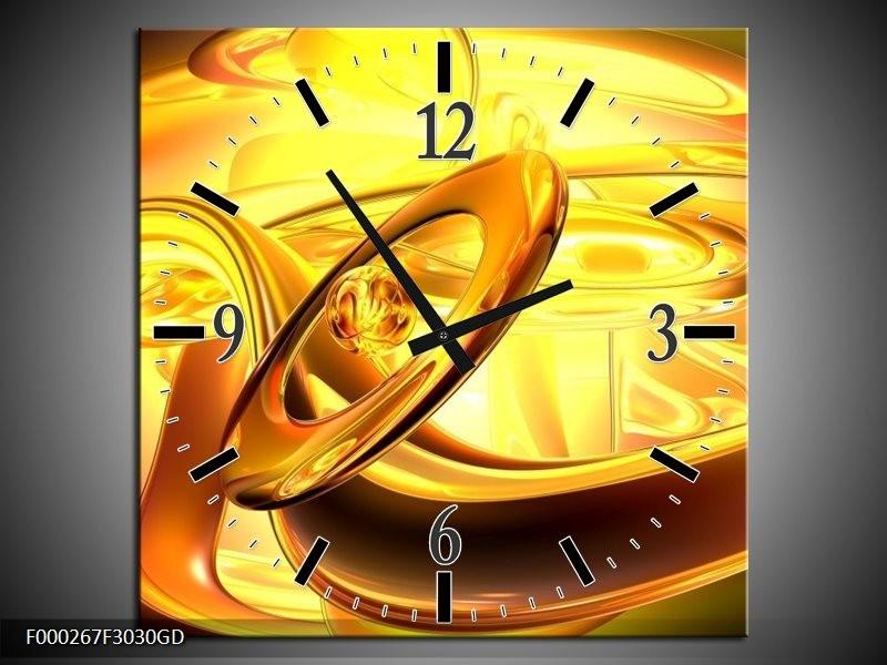 Wandklok op Glas Abstract | Kleur: Geel, Goud, Oranje | F000267CGD