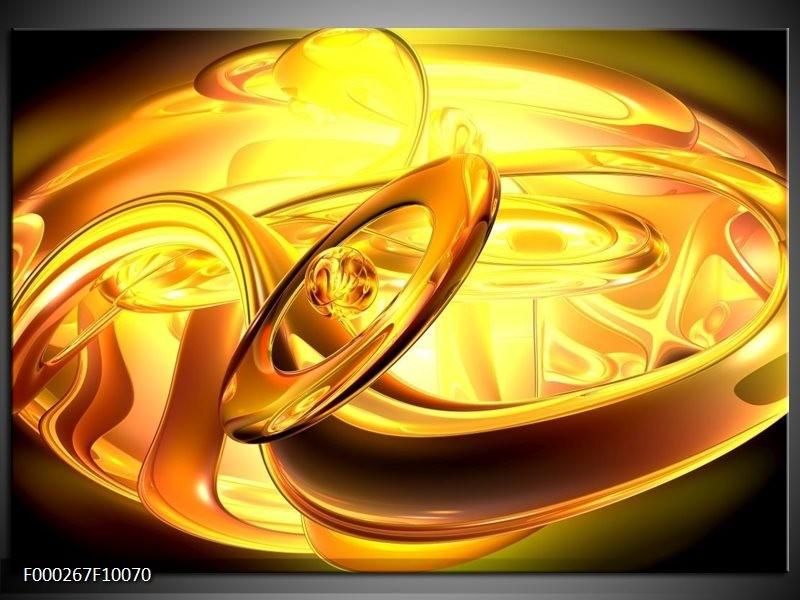 Glas schilderij Abstract | Geel, Goud, Oranje