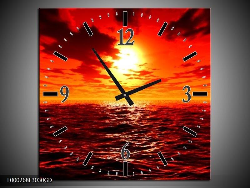 Wandklok op Glas Zee | Kleur: Rood, Geel, Oranje | F000268CGD