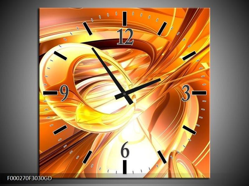 Wandklok op Glas Abstract | Kleur: Geel, Goud, Wit | F000270CGD