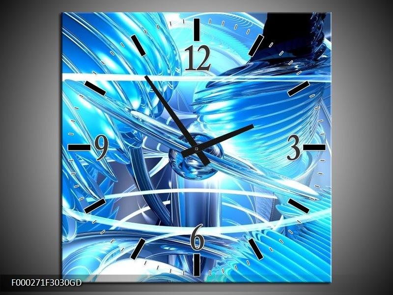 Wandklok op Glas Abstract | Kleur: Blauw, Wit, Grijs | F000271CGD