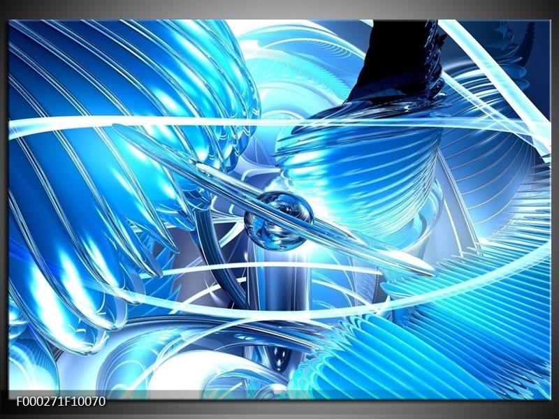 Glas schilderij Abstract   Blauw, Wit, Grijs